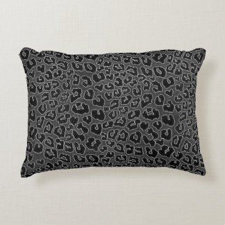 Stippled Black Leopard Print Decorative Pillow