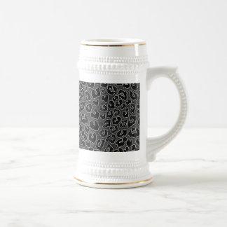 Stippled Black Leopard Print 18 Oz Beer Stein