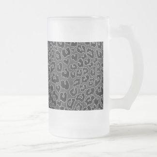 Stippled Black Leopard Print 16 Oz Frosted Glass Beer Mug