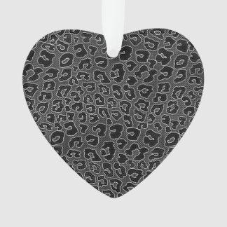 Stippled Black Leopard Print Ornament