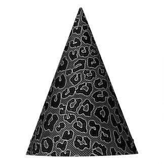 Stippled Black Leopard Print Party Hat