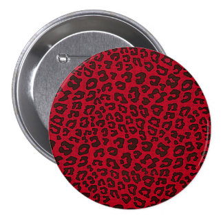 Stippled Cranberry Red Leopard Print Button