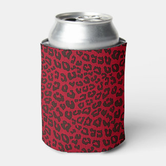 Stippled Cranberry Red Leopard Print Can Cooler