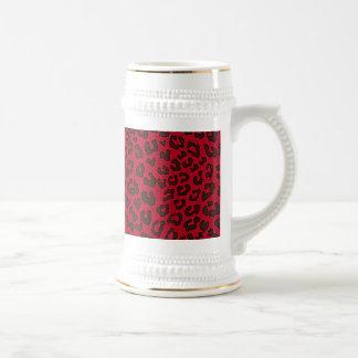 Stippled Cranberry Red Leopard Print 18 Oz Beer Stein