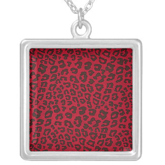Stippled Cranberry Red Leopard Print Square Pendant Necklace