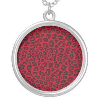 Stippled Cranberry Red Leopard Print Round Pendant Necklace