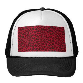 Stippled Cranberry Red Leopard Print Trucker Hat