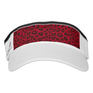 Stippled Cranberry Red Leopard Print Visor