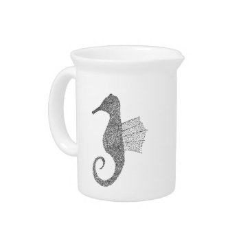 Beach Themed Stippled Sea Horse Pitcher
