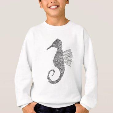 Beach Themed Stippled Sea Horse Sweatshirt