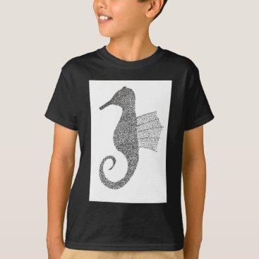 Beach Themed Stippled Sea Horse T-Shirt