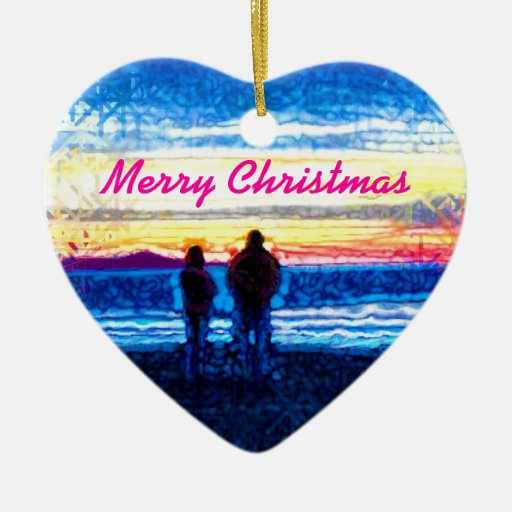 Stippled Sunset Christmas Tree Ornaments