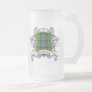 Stirling Tartan Shield Frosted Glass Beer Mug