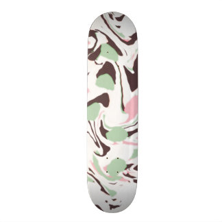 Stirred colors on white skateboard