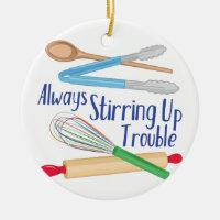 Stirring Up Trouble Ceramic Ornament