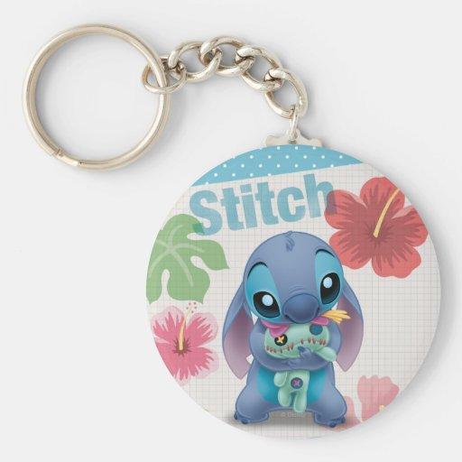 Stitch Basic Round Button Keychain