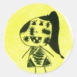 Stitch girl classic round sticker