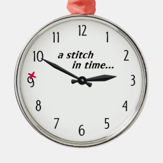 Stitch in time saves 9 - Apron (White) Metal Ornament