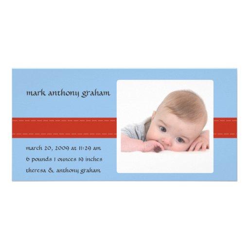 Stitch Photo Birth Announcement (Boy) Personalized Photo Card