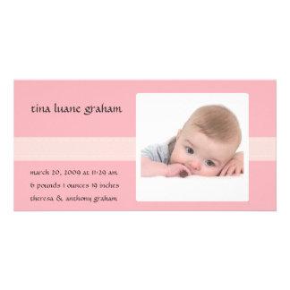 Stitch Photo Birth Announcement (Girl) Photo Card Template