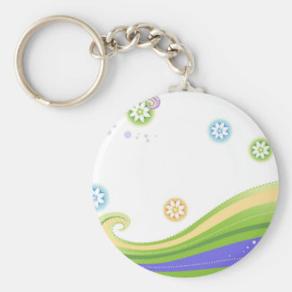 Stitched and Flowers Curve Circle Floral Design Key Chains