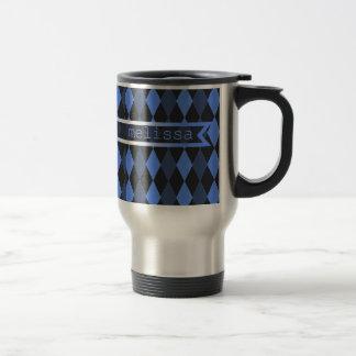 Stitched Argyle Blue Travel Mug