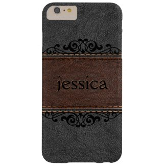 Stitched Black And Brown Vintage Leather Barely There iPhone 6 Plus Case