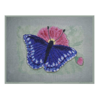 STITCHED BLUE BUTTERFLY POSTER