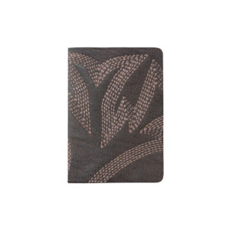 Stitched Brown Leather Pattern Passport Holder