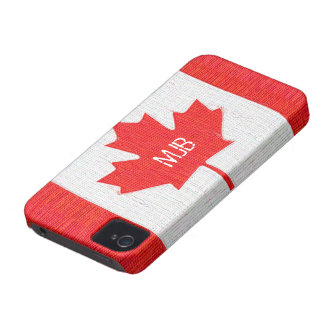 Stitched Canada Flag Patch Style Design iPhone 4 Case