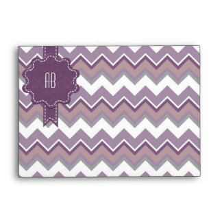 Stitched Chevron Monogram Plum Envelope