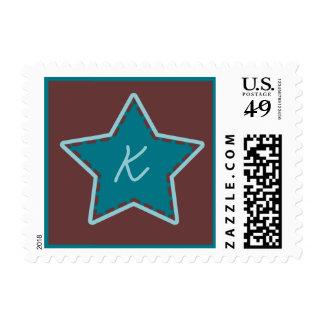 Stitched Christmas Star Monogram Teal Maroon Aqua Postage