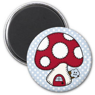 Stitched Design Red Mushroom House Fairy Home 2 Inch Round Magnet