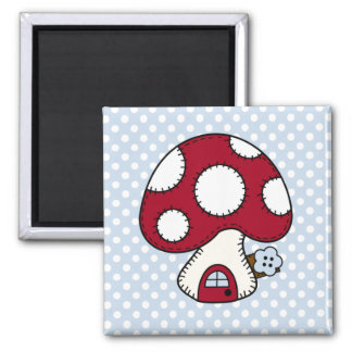 Stitched Design Red Mushroom House Fairy Home 2 Inch Square Magnet