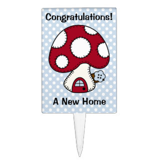 Stitched Design Red Mushroom House Fairy Home Cake Topper