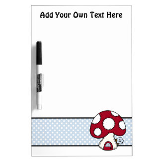 Stitched Design Red Mushroom House Fairy Home Dry Erase Boards
