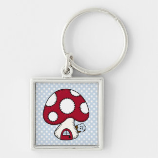 Stitched Design Red Mushroom House Fairy Home Key Chain