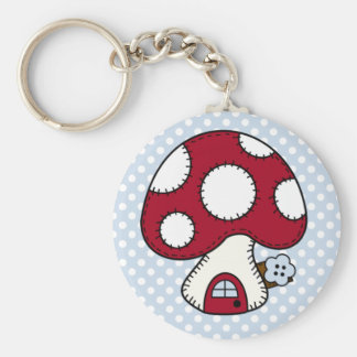 Stitched Design Red Mushroom House Fairy Home Key Chains