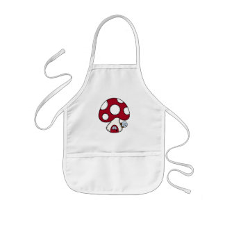 Stitched Design Red Mushroom House Fairy Home Kids' Apron