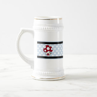 Stitched Design Red Mushroom House Fairy Home 18 Oz Beer Stein