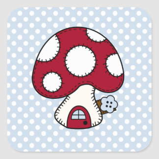 Stitched Design Red Mushroom House Fairy Home Square Sticker