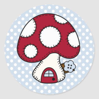 Stitched Design Red Mushroom House Fairy Home Classic Round Sticker