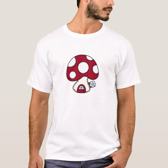 Stitched Design Red Mushroom House Fairy Home T-Shirt