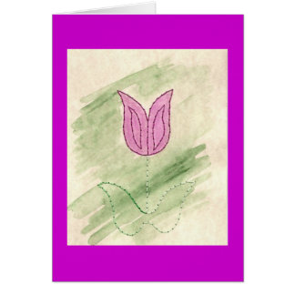 STITCHED FLOWER TULIP GREETING CARD