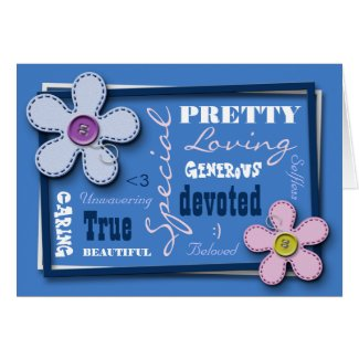 Stitched Flowers Blue Love & Appreciation Card card