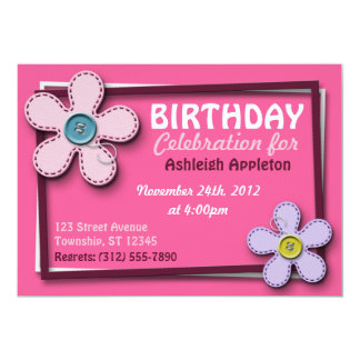 Stitched Flowers Trendy Pink Birthday Invitations