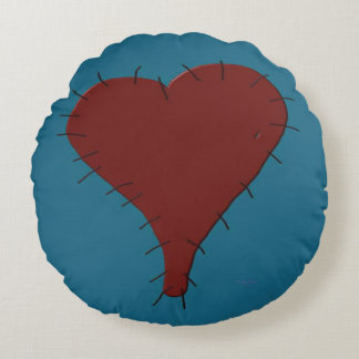 "Stitched Heart 16"" Round Throw Pillow"