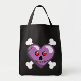 Stitched Heart Creepy Cute Canvas Tote Bags