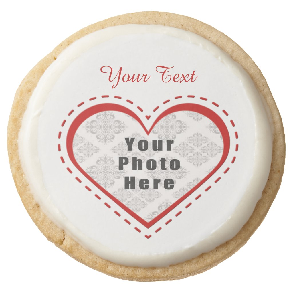 Stitched Heart Photo/Text Round Shortbread Cookie
