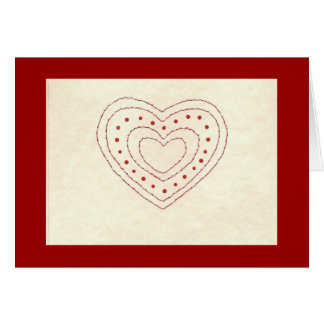 STITCHED HEART WITH DOTS GREETING CARD